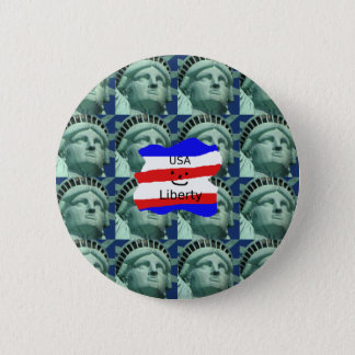 USA Flag Colors With Statue Of Liberty 2 Inch Round Button