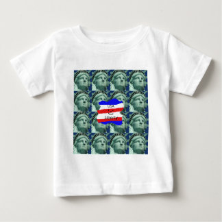 USA Flag Colors With Statue Of Liberty Baby T-Shirt