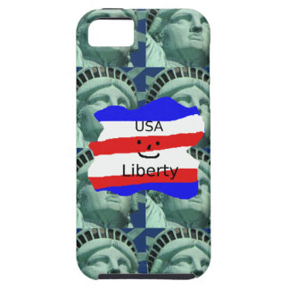USA Flag Colors With Statue Of Liberty Case For The iPhone 5