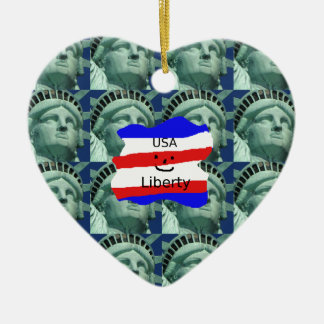 USA Flag Colors With Statue Of Liberty Ceramic Ornament