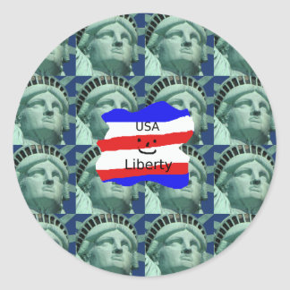 USA Flag Colors With Statue Of Liberty Classic Round Sticker