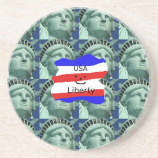 USA Flag Colors With Statue Of Liberty Coaster