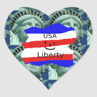 USA Flag Colors With Statue Of Liberty Heart Sticker