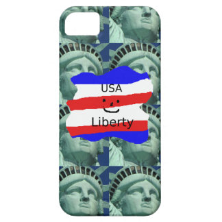 USA Flag Colors With Statue Of Liberty iPhone 5 Case