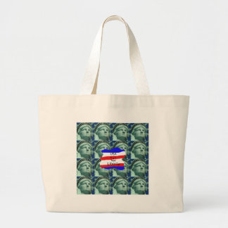 USA Flag Colors With Statue Of Liberty Large Tote Bag