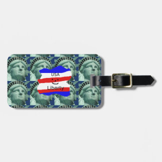 USA Flag Colors With Statue Of Liberty Luggage Tag