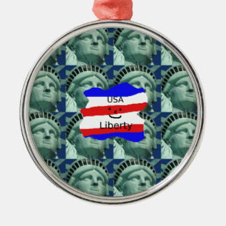 USA Flag Colors With Statue Of Liberty Metal Ornament