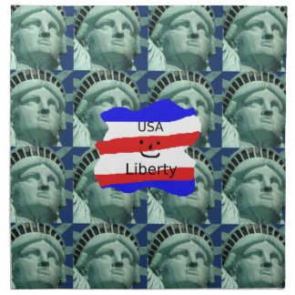 USA Flag Colors With Statue Of Liberty Napkin