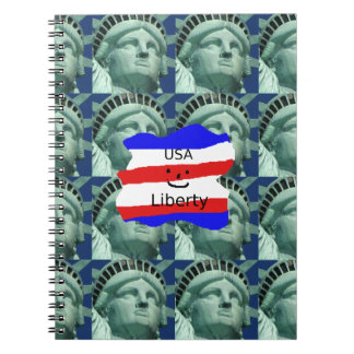 USA Flag Colors With Statue Of Liberty Notebooks