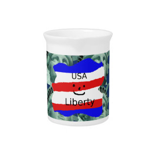 USA Flag Colors With Statue Of Liberty Pitcher