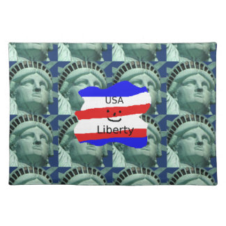 USA Flag Colors With Statue Of Liberty Placemat