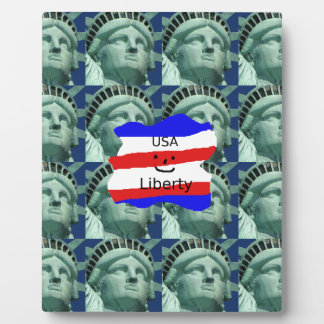 USA Flag Colors With Statue Of Liberty Plaque