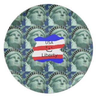 USA Flag Colors With Statue Of Liberty Plate