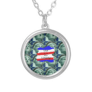 USA Flag Colors With Statue Of Liberty Silver Plated Necklace