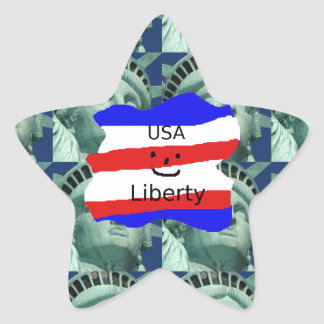 USA Flag Colors With Statue Of Liberty Star Sticker