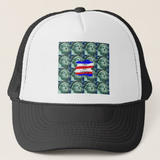 USA Flag Colors With Statue Of Liberty Trucker Hat
