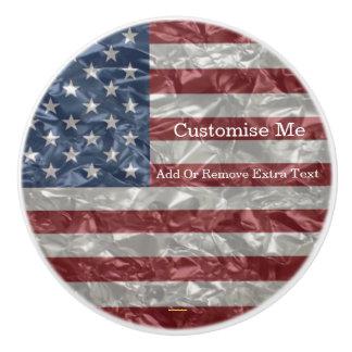 USA Flag - Crinkled Ceramic Knob
