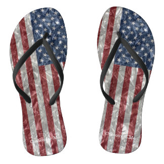 USA Flag - Crinkled Flip Flops