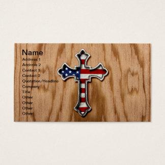 USA Flag Cross Business Card