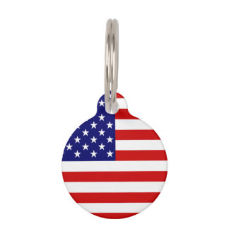 USA Flag Customizable Pet Tag