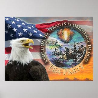 USA Flag Eagle Tea Party Poster