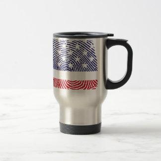 USA Flag Fingerprint Travel Mug