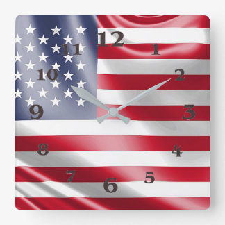 USA Flag for Square-Wall-Clock Clocks