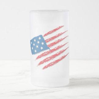 Usa flag frosted glass beer mug