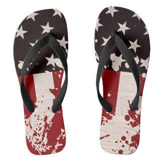 usa flag grunge fourth of july party unisex flips flip flops