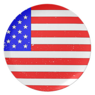 USA Flag Grunge Party Plates