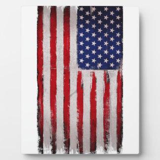 USA flag Grunge Plaque