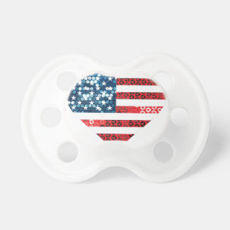usa flag heart baby pacifier