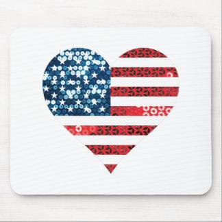 usa flag heart mouse pad