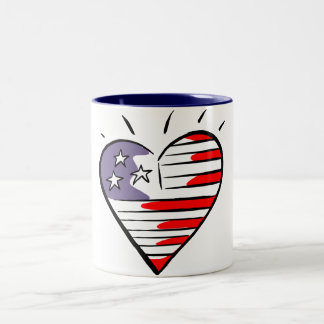 USA Flag Heart Mug