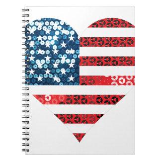 usa flag heart notebook