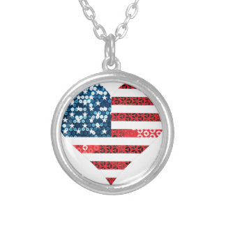 usa flag heart silver plated necklace