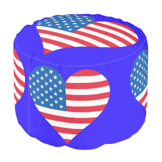 Usa Flag Heart Woven Cotton Round Pouf