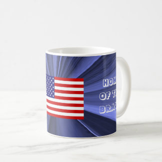 USA Flag Home of the Brave Blue Coffee Mug by Janz