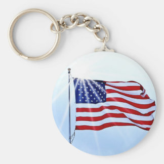 Usa flag in the wind basic round button keychain