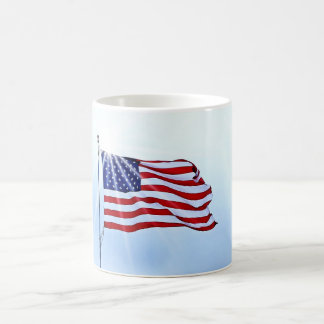 Usa flag in the wind coffee mug