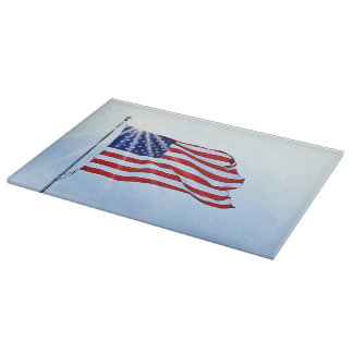 Usa flag in the wind cutting board