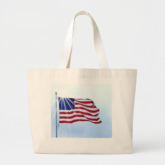 Usa flag in the wind large tote bag