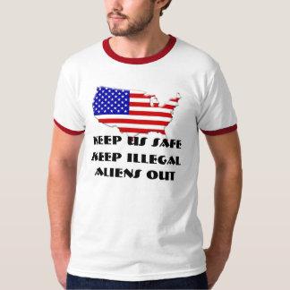usa-flag-inside-map-1,  Keep US Safe, Keep Ille... T-Shirt