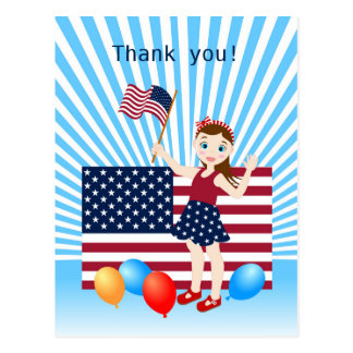 USA Flag July 4th  birthday girl party Postcard