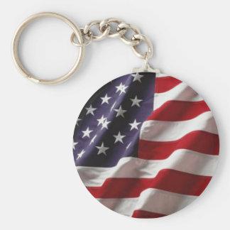 USA Flag -Keychain- Basic Round Button Keychain