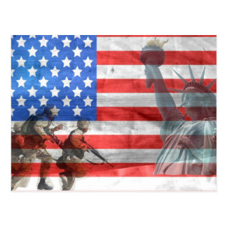 USA Flag Lady Liberty  and Soldiers Postcard