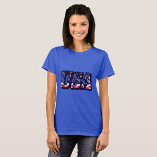 USA Flag Letters, American Flag Lady's Dark Tee