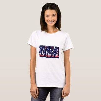 USA Flag Letters, American Flag Lady's Light Tee
