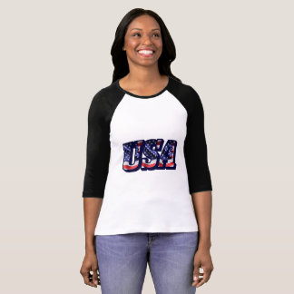 USA Flag Letters, American Flag Women's 3/4 Sleeve T-Shirt