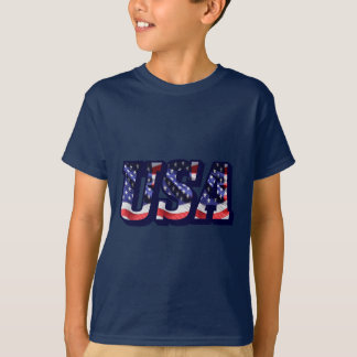 USA Flag Letters, Flag Kids Dark Colored T-Shirt